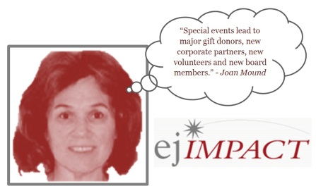 """Special events lead to major gift donors, new corporate partners, new volunteers and new board members."" - Joan Mound"